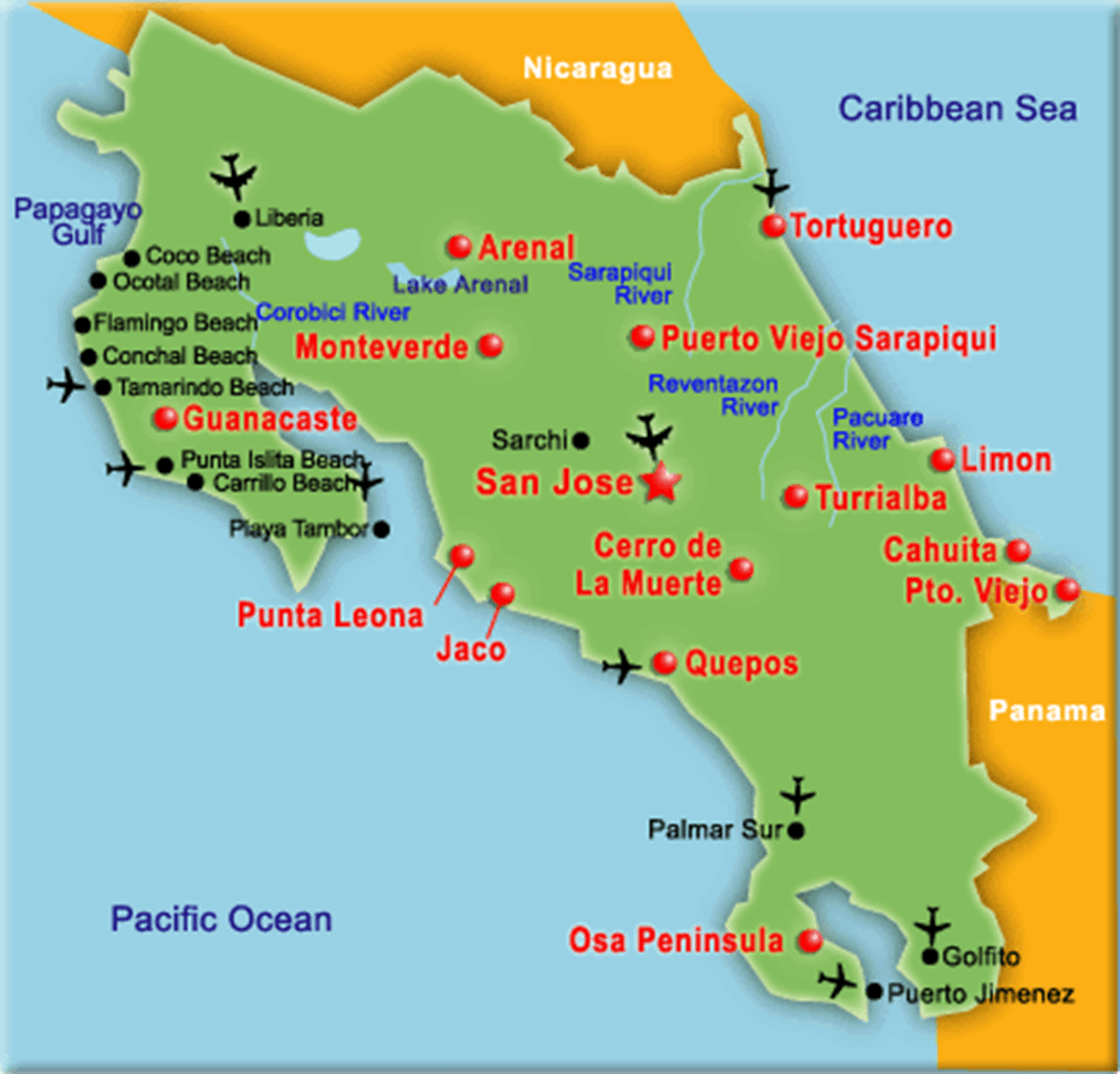 COSTA RICA MAPS | Costa Rica Maps | Casa Wasabi
